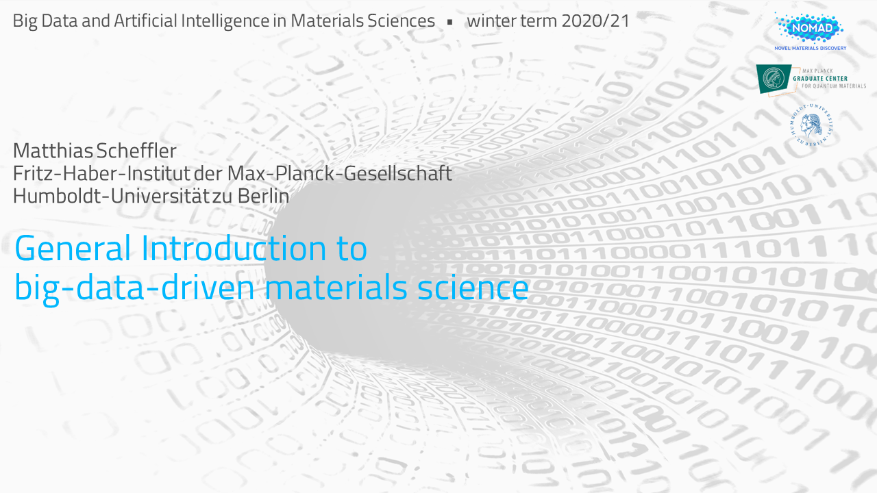 Course on Big Data and Artificial Intelligence in Materials Science