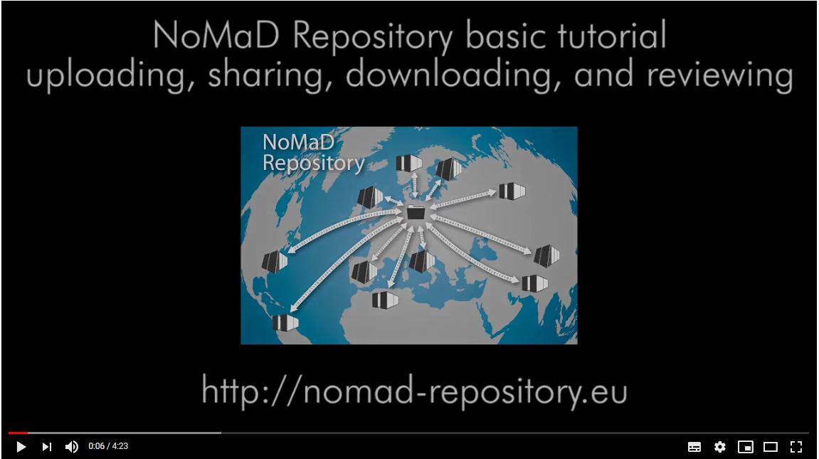 NOMAD Repository Basic Tutorial